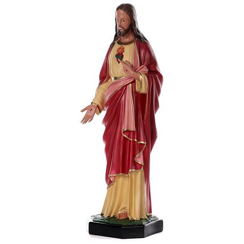 Statue Sacré-Coeur Jésus résine 80 cm peinte main Arte Barsanti 3