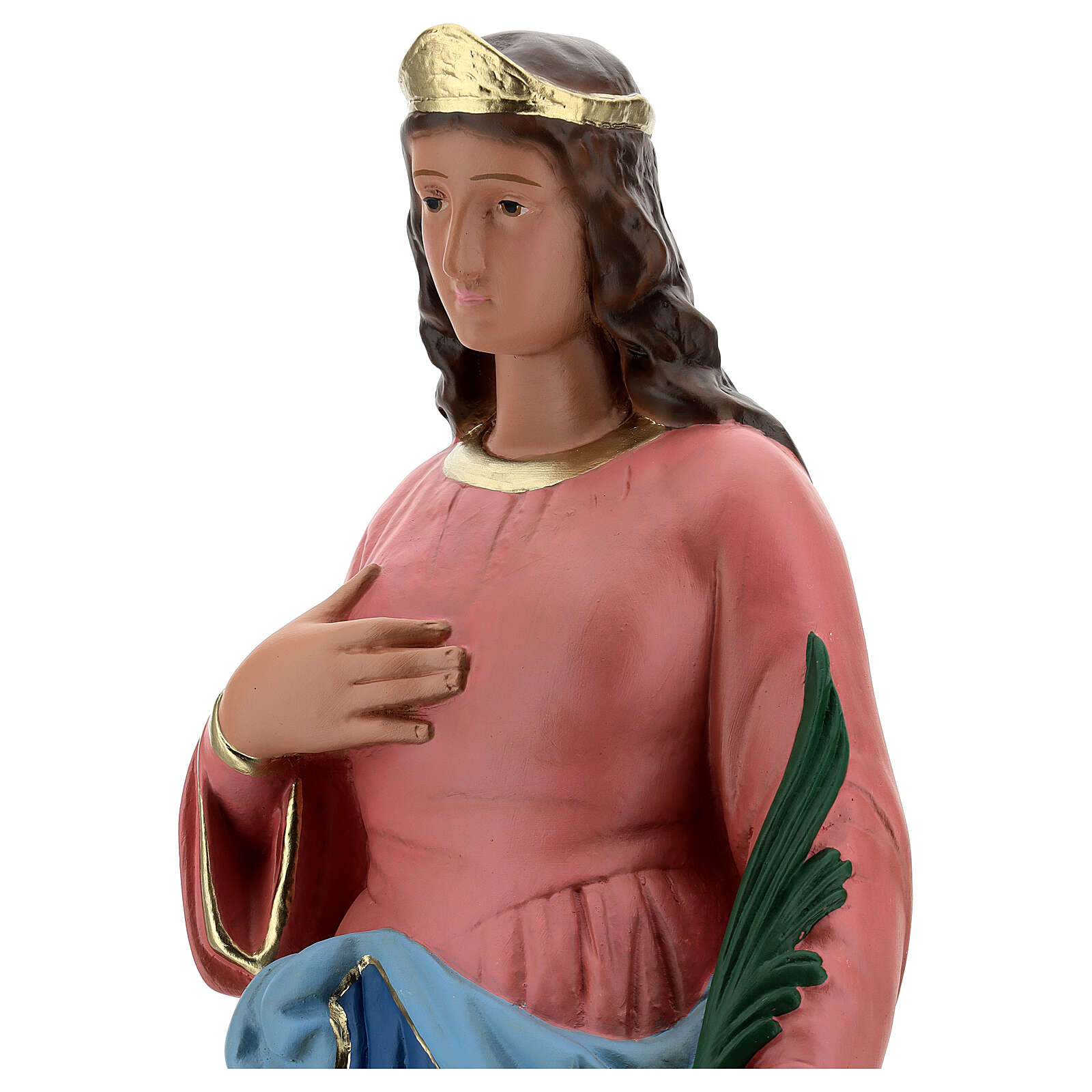 Sainte Barbe statue plâtre 60 cm peinte main Barsanti 4