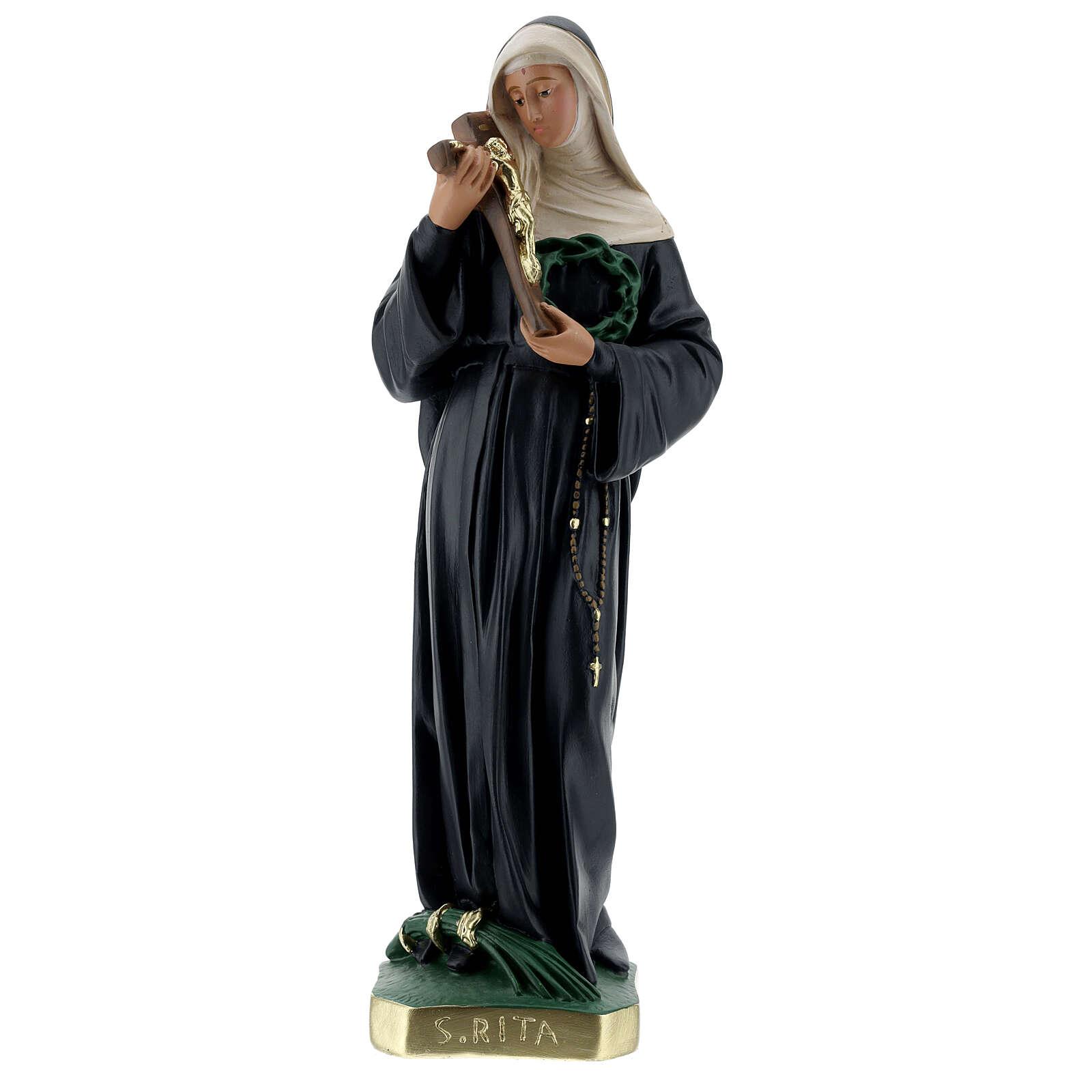 St Rita of Cascia plaster statue, 40 cm hand painted Barsanti 4