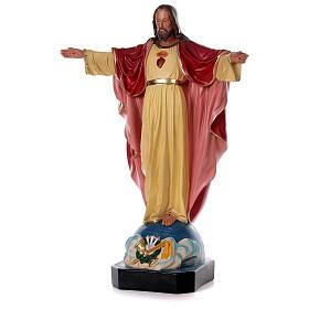 Statue Sacré-Coeur Jésus 80 cm résine peinte main Arte Barsanti s3