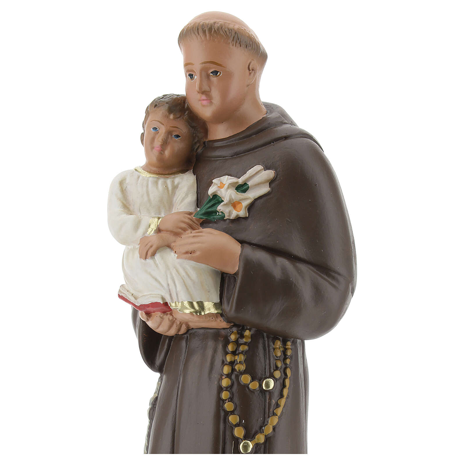 St Anthony statue with Child, 25 cm hand painted plaster Arte Barsanti 4