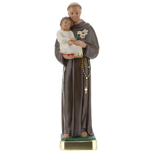 St Anthony statue with Child, 25 cm hand painted plaster Arte Barsanti 1