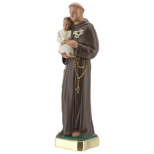 St Anthony statue with Child, 25 cm hand painted plaster Arte Barsanti 3