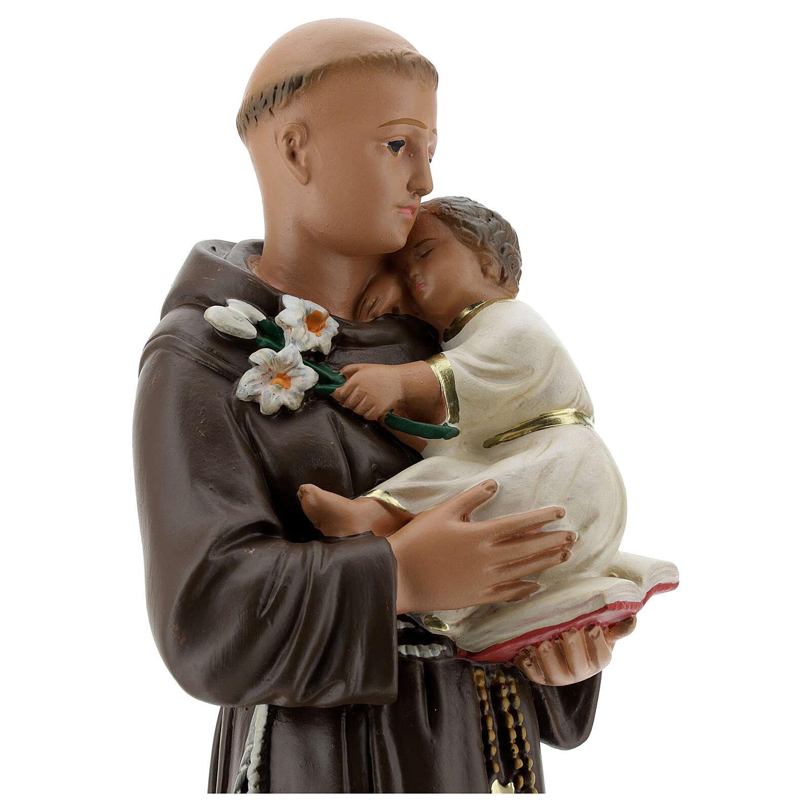 Statue Saint Antoine de Padoue 30 cm plâtre peint main Barsanti 4