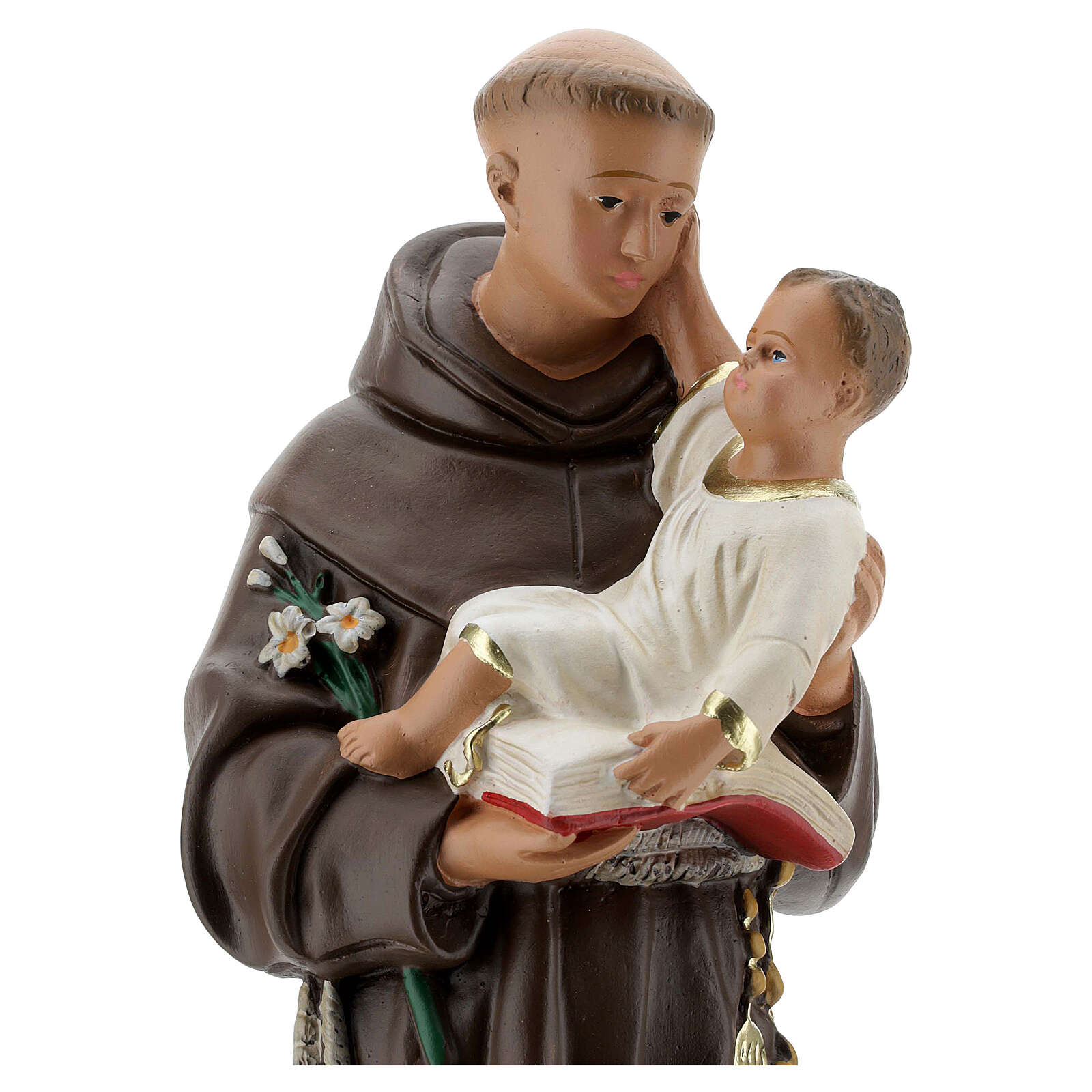 Santo António de Lisboa 40 cm imagem gesso pintada à mão Barsanti 4