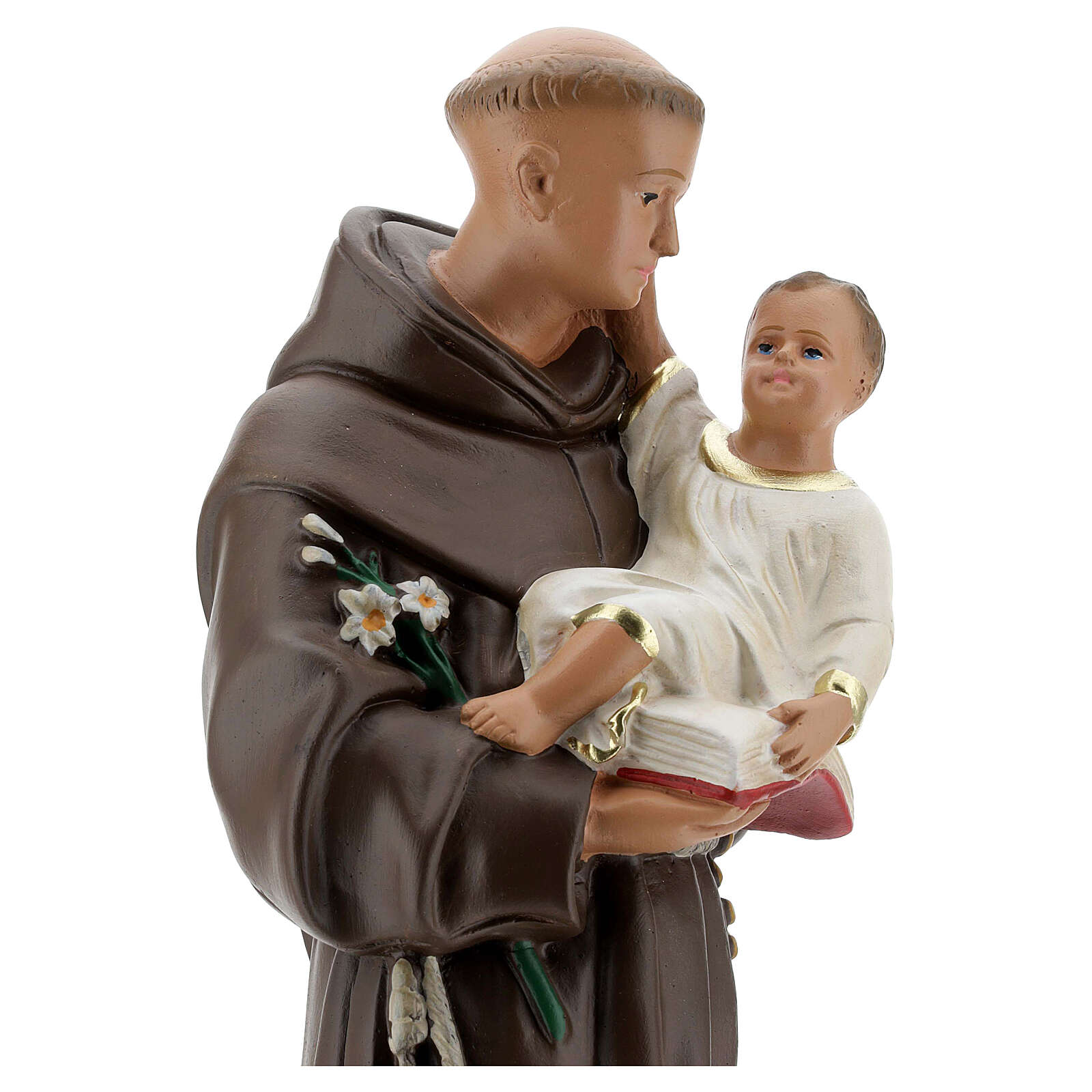 St Anthony of Padua statue with Child, 40 cm hand painted plaster Barsanti 4