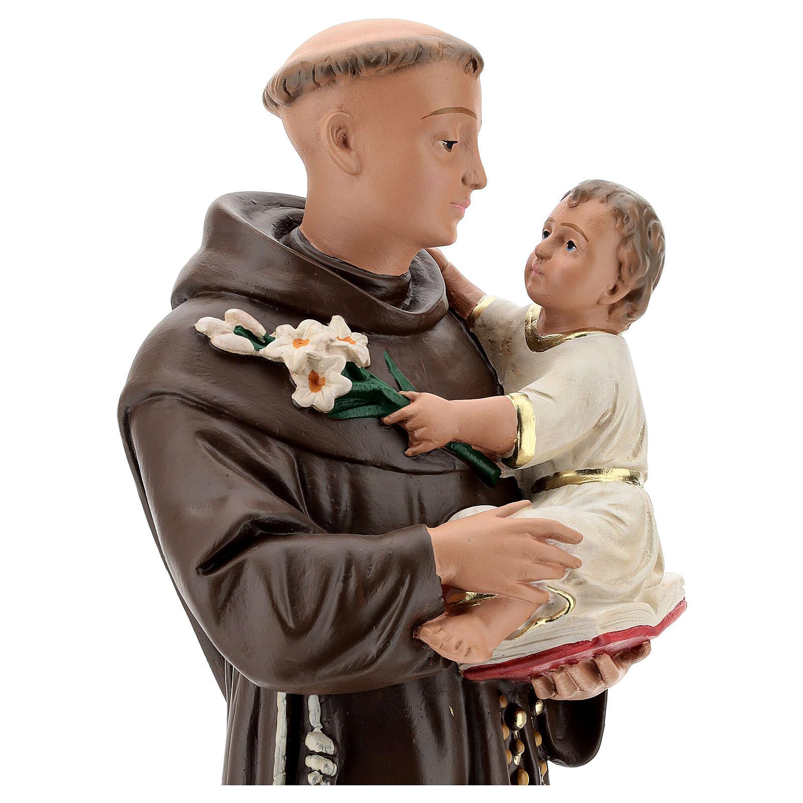 Statue St Anthony of Padua, 50 cm hand painted plaster Barsanti 4