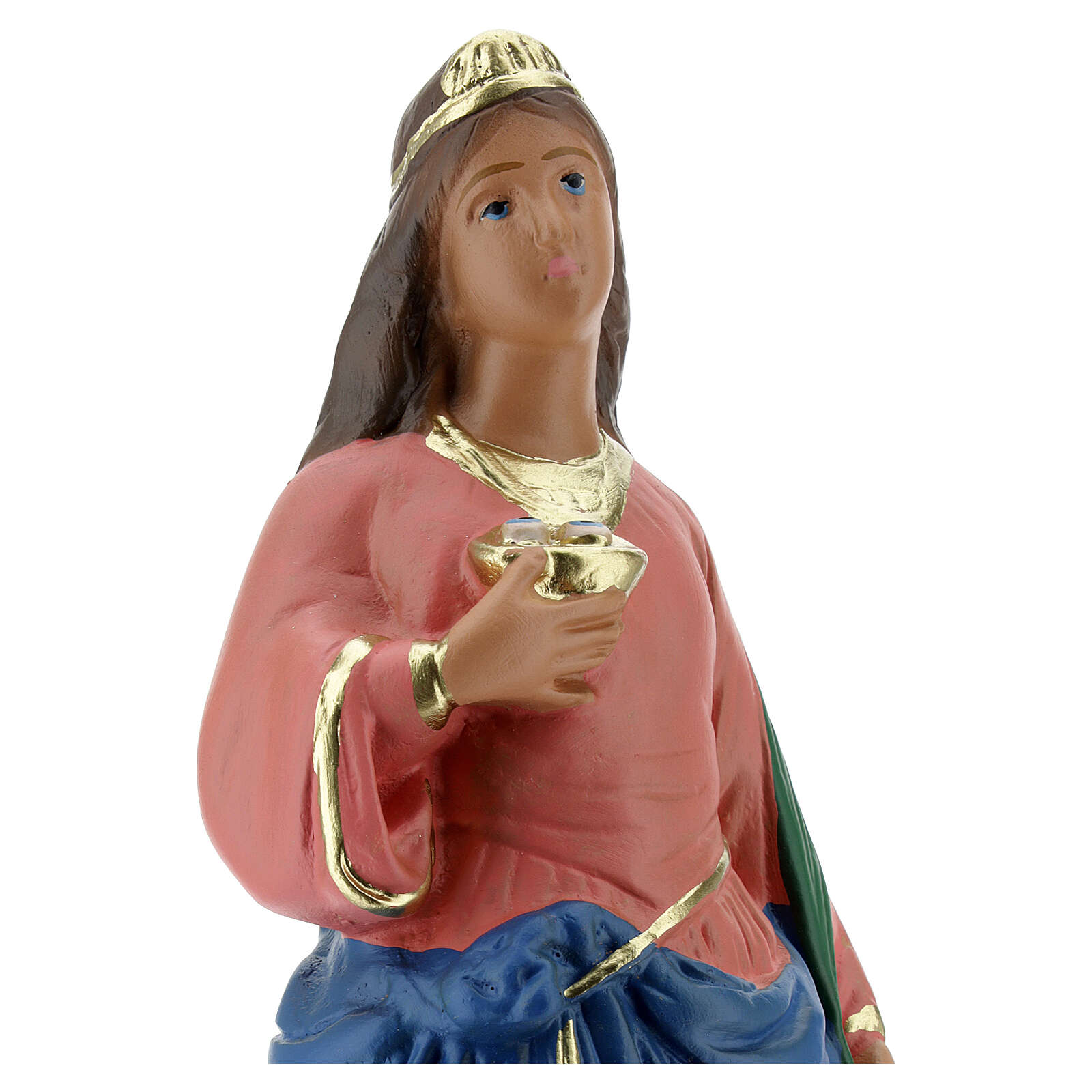 Statuette Sainte Lucie plâtre 30 cm peinte main Arte Barsanti 4