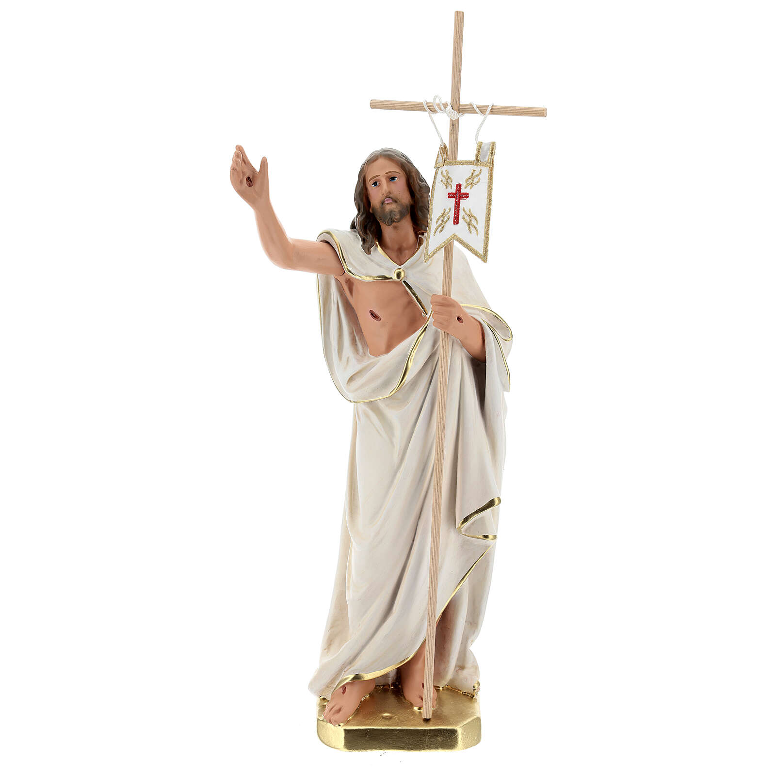 Statue of Resurrected Jesus with cross and flag 40 cm plaster Arte Barsanti 4