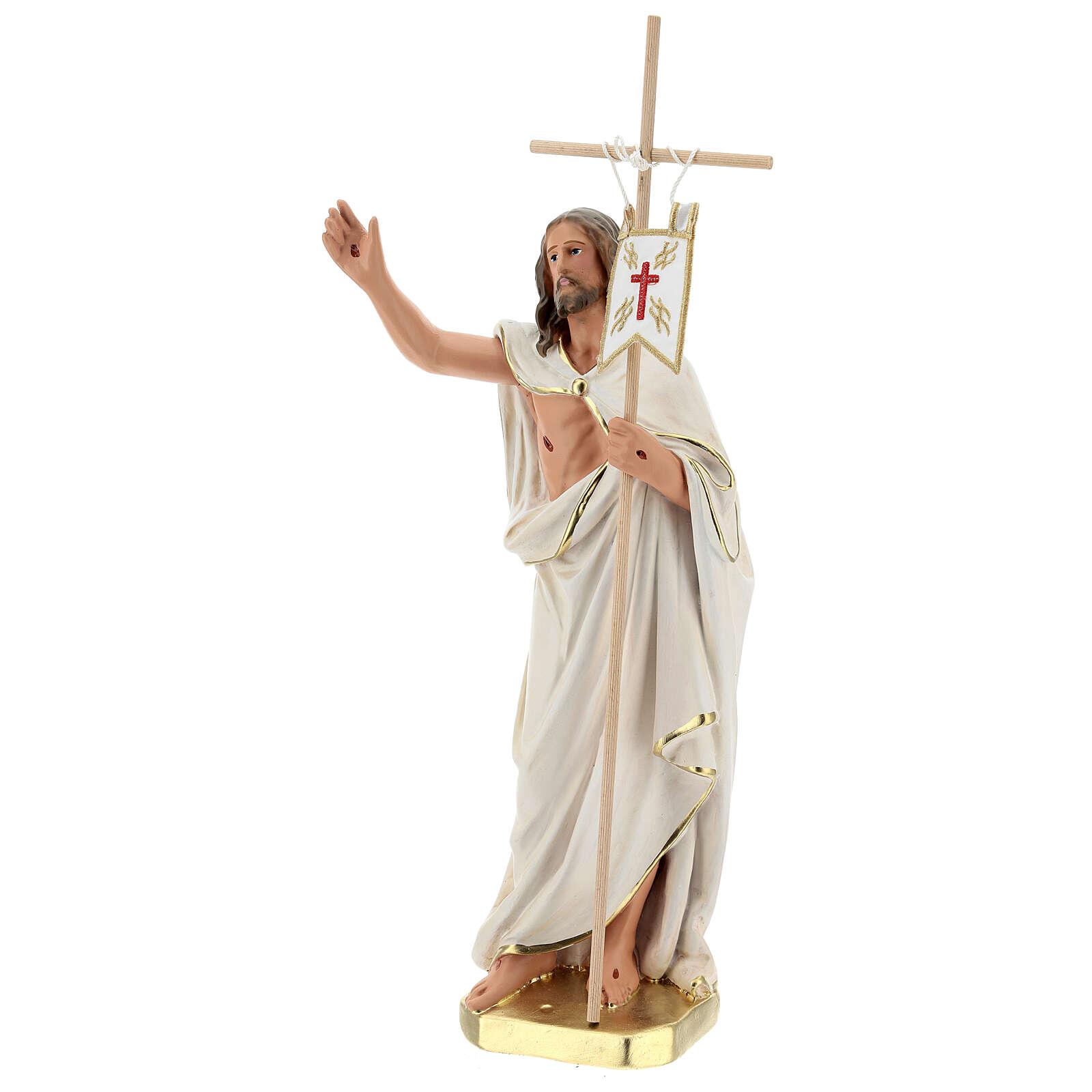 Jesús Resucitado cruz bandera estatua yeso 40 cm Arte Barsanti 4