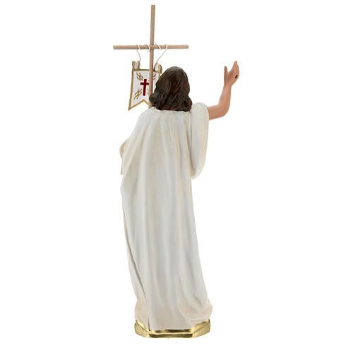 Jesús Resucitado cruz bandera estatua yeso 40 cm Arte Barsanti 5