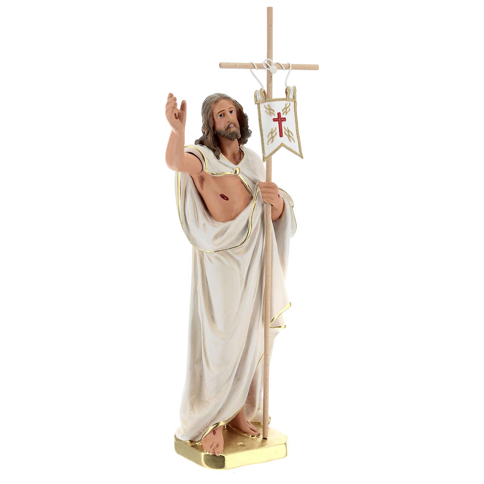Jésus Ressuscité croix drapeau statue plâtre 40 cm Arte Barsanti 4