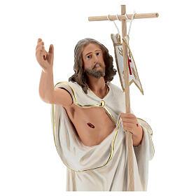 Jésus Ressuscité croix drapeau statue plâtre 40 cm Arte Barsanti s2