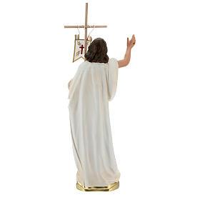 Jésus Ressuscité croix drapeau statue plâtre 40 cm Arte Barsanti s5