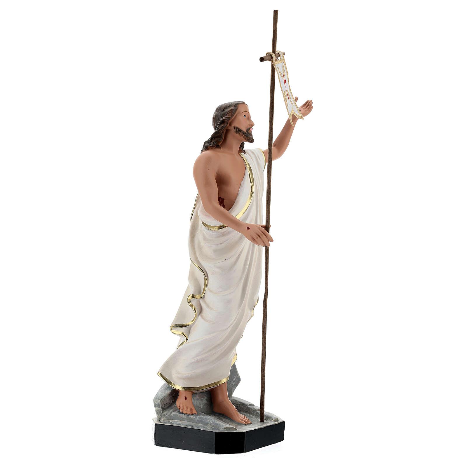 Statue Christ Ressuscité croix drapeau 40 cm résine peinte Arte Barsanti 4
