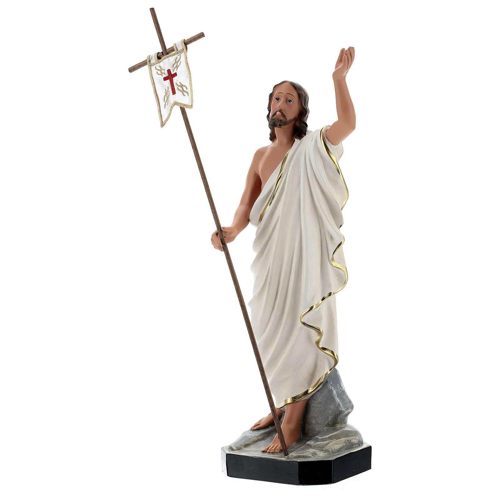 Statua Gesù Risorto croce bandiera 40 cm resina dipinta Arte Barsanti 4