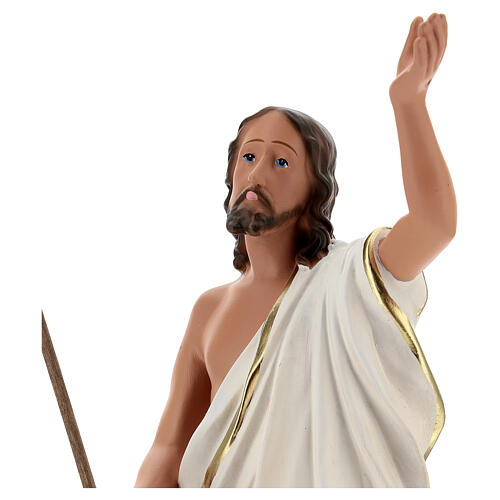 Statua Gesù Risorto croce bandiera 40 cm resina dipinta Arte Barsanti 2