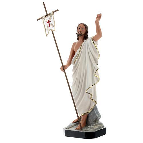 Statua Gesù Risorto croce bandiera 40 cm resina dipinta Arte Barsanti 3