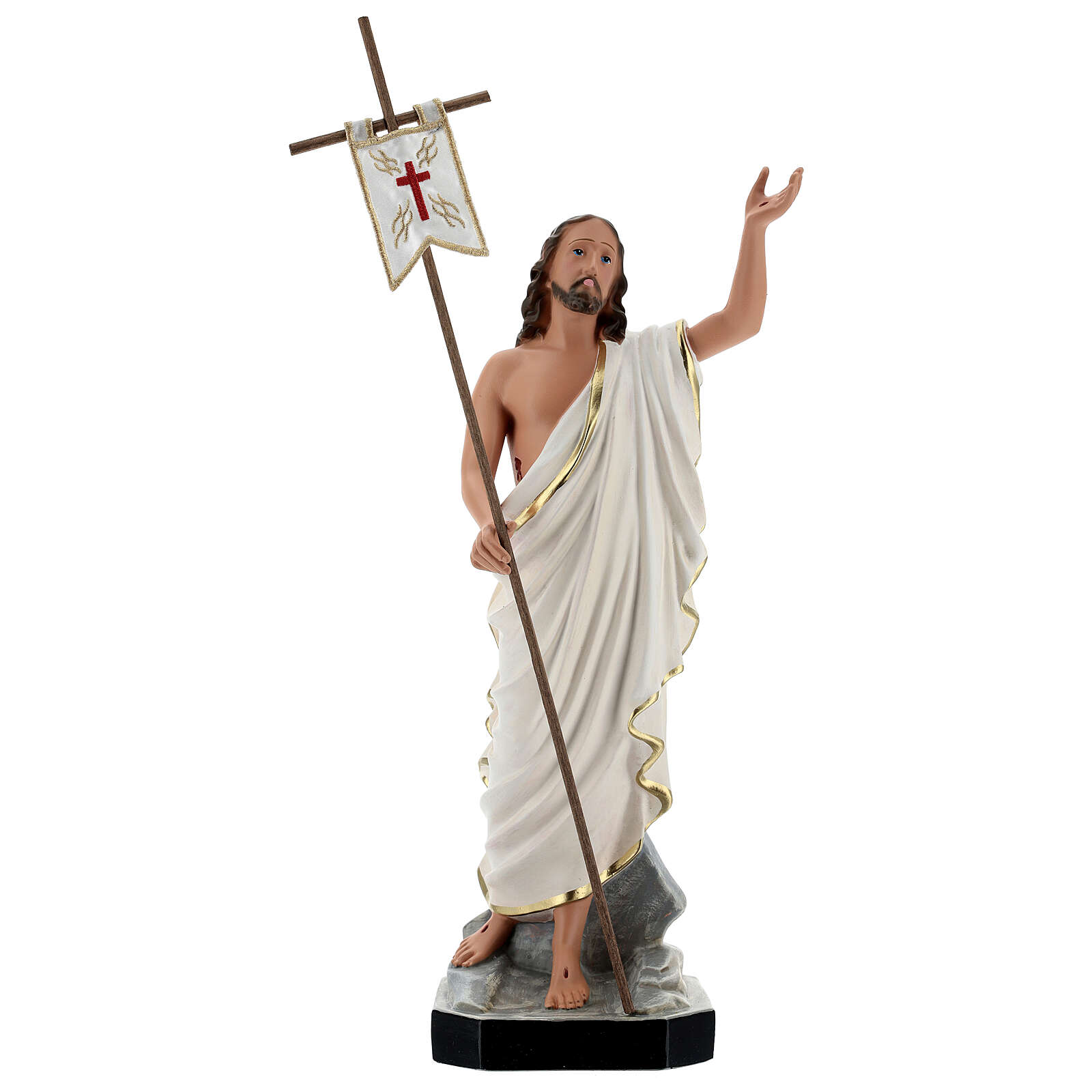 Jesus Cristo Ressuscitado com cruz e estandarte imagem resina Arte Barsanti 40 cm 4
