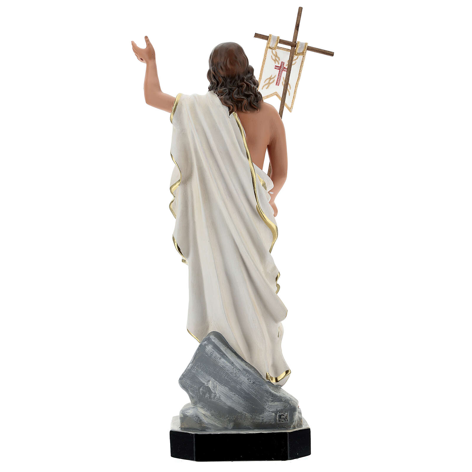 Jesus Resurrection statue with cross flag, 40 cm painted resin Arte Barsanti 4