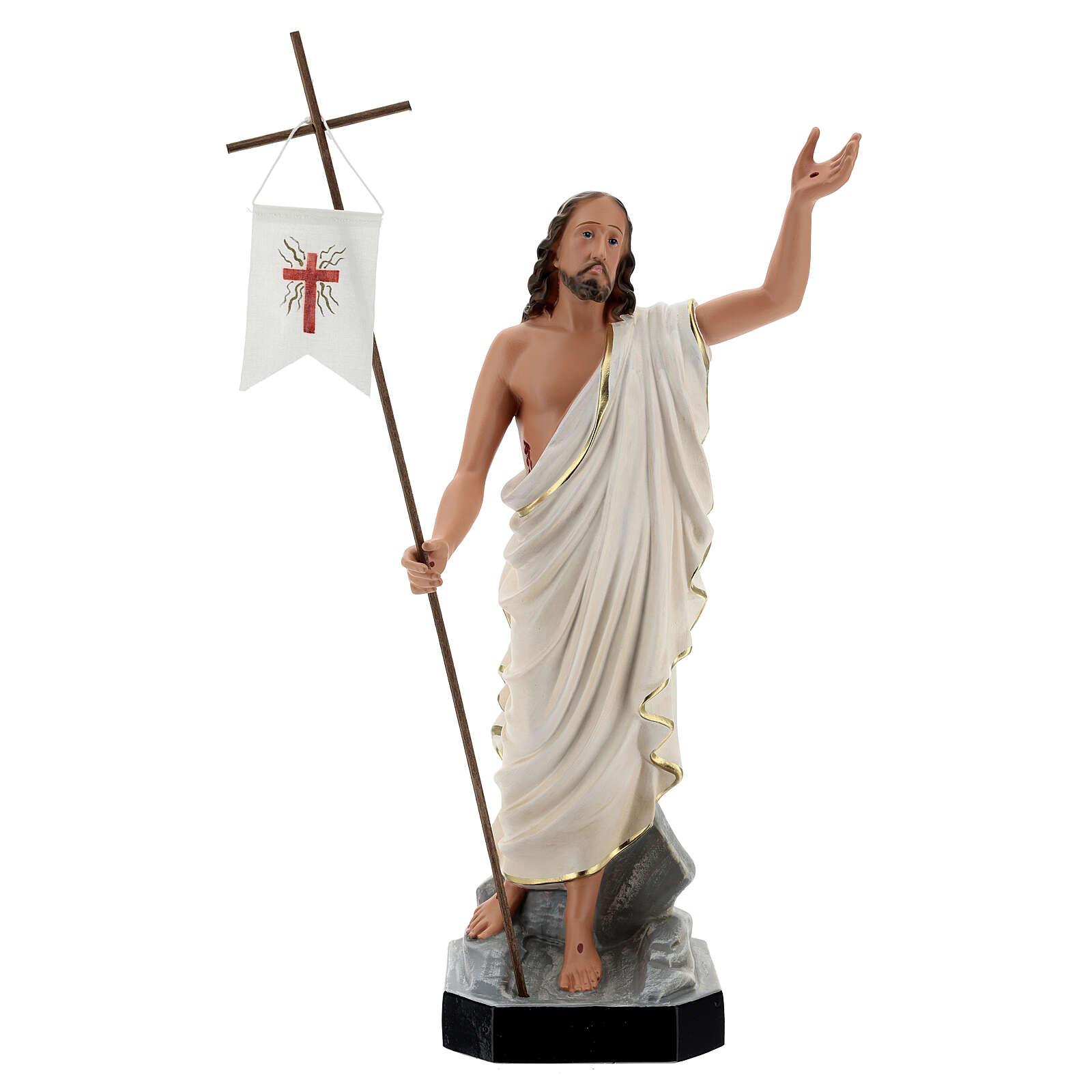 Jesus Cristo Ressuscitado com cruz e estandarte imagem resina pintada Arte Barsanti 50 cm 4