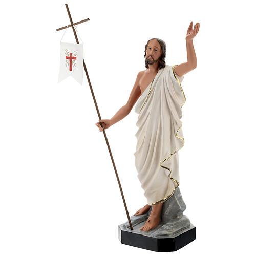 Jesus Cristo Ressuscitado com cruz e estandarte imagem resina pintada Arte Barsanti 50 cm 3