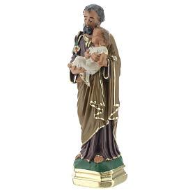 St Joseph with Child Jesus statue, 15 cm hand painted plaster Arte Barsanti s2