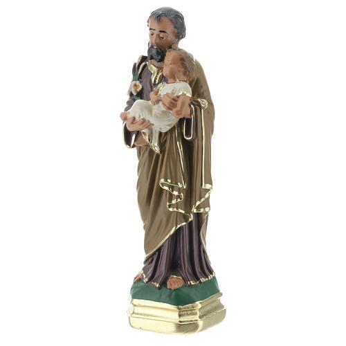 St Joseph with Child Jesus statue, 15 cm hand painted plaster Arte Barsanti 2