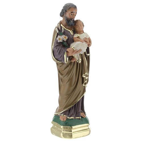 St Joseph with Child Jesus statue, 15 cm hand painted plaster Arte Barsanti 3