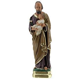 Saint Joseph 20 cm statue plâtre peinte main Arte Barsanti s1