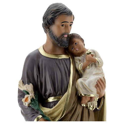Saint Joseph statue, 30 cm hand painted plaster Arte Barsanti 2