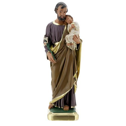 Saint Joseph 40 cm statue plâtre peint main Arte Barsanti 1