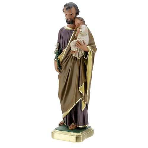 Saint Joseph 40 cm statue plâtre peint main Arte Barsanti 3