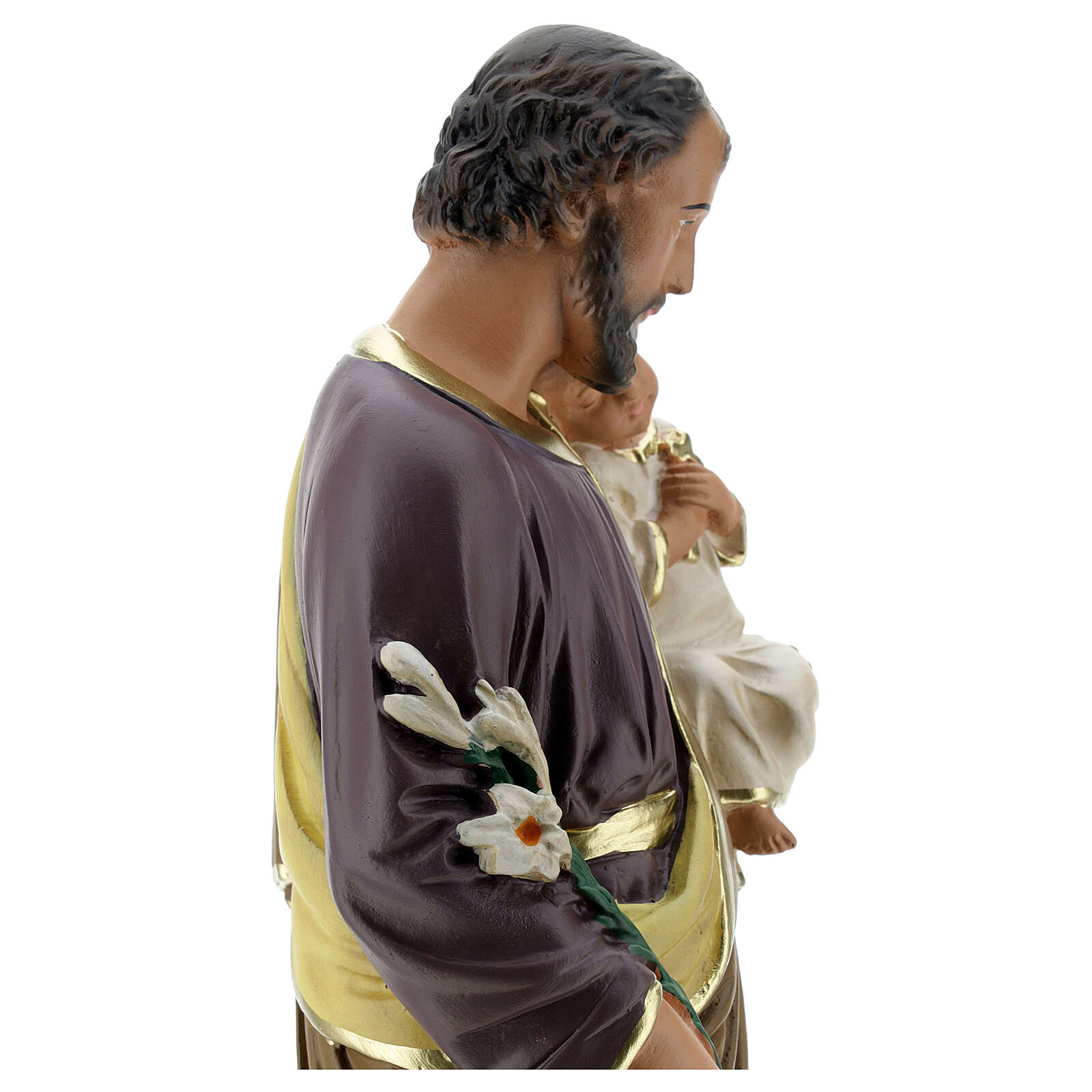 Saint Joseph with Child Jesus statue, 40 cm hand painted Arte Barsanti 4