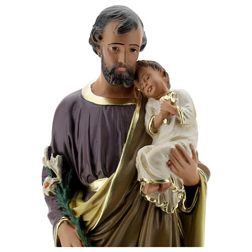 Saint Joseph with Child Jesus statue, 40 cm hand painted Arte Barsanti 2