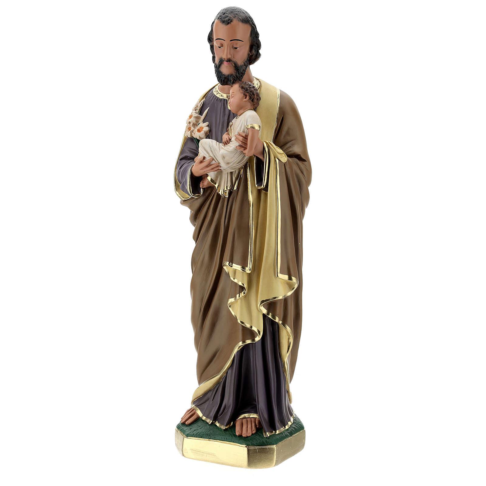 Statue aus Gips Josef von Nazaret mit Jesuskind von Arte Barsanti, 60 cm 4