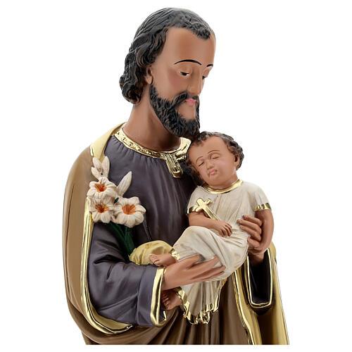 Statue aus Gips Josef von Nazaret mit Jesuskind von Arte Barsanti, 60 cm 2
