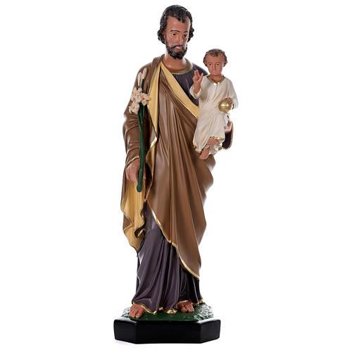 Statua San Giuseppe Bambino 85 cm resina dipinta a mano Arte Barsanti 1