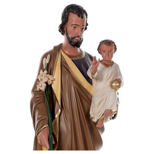 Statua San Giuseppe Bambino 85 cm resina dipinta a mano Arte Barsanti 2