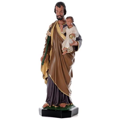 Statua San Giuseppe Bambino 85 cm resina dipinta a mano Arte Barsanti 3