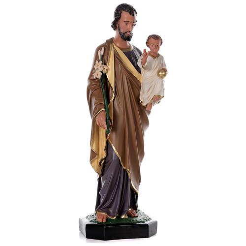 Statua San Giuseppe Bambino 85 cm resina dipinta a mano Arte Barsanti 4
