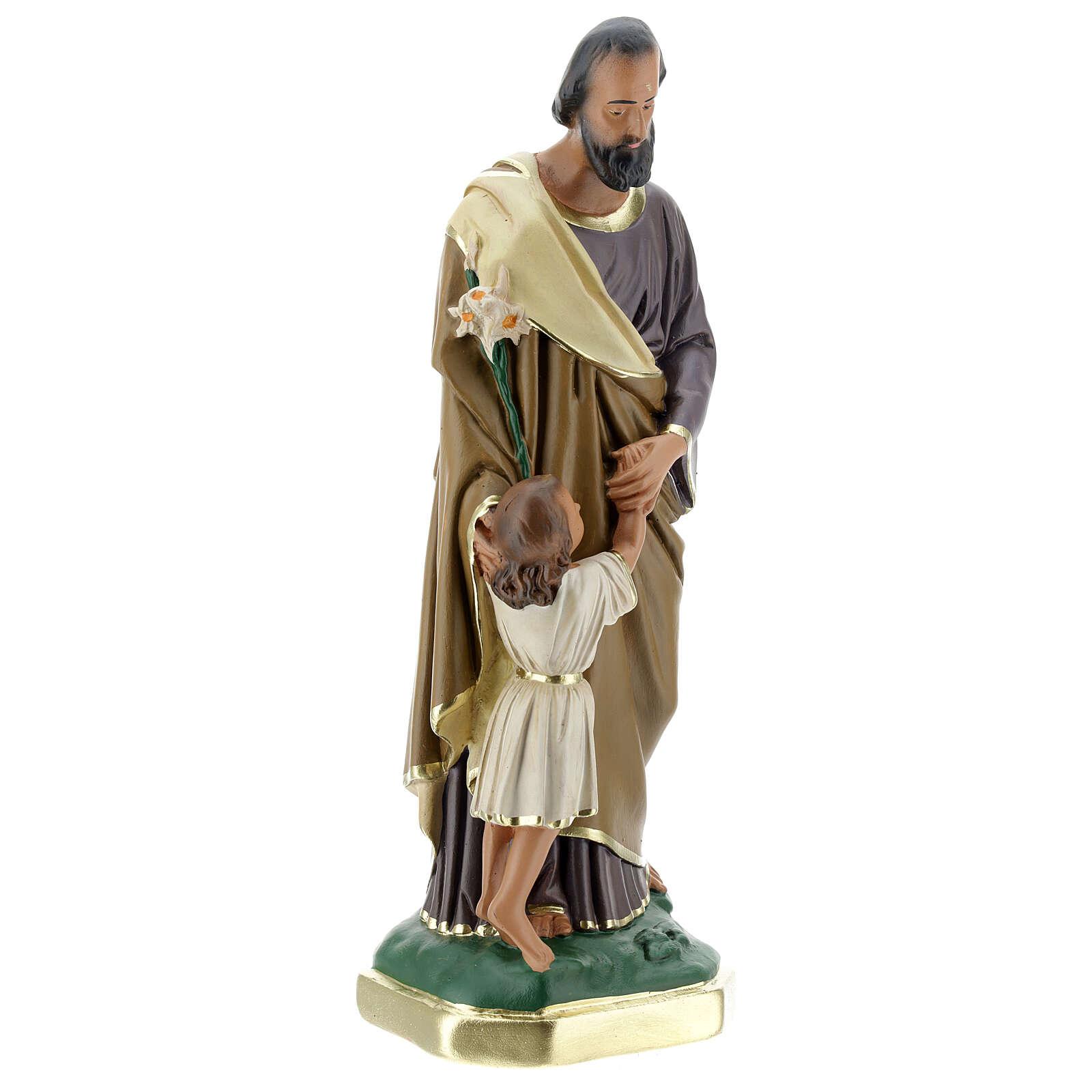 Saint Joseph avec Enfant Jésus statue plâtre 30 cm peinte main Barsanti 4