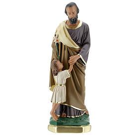 Saint Joseph avec Enfant Jésus statue plâtre 30 cm peinte main Barsanti s1