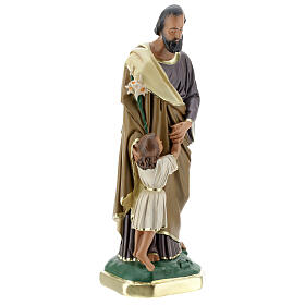 Saint Joseph avec Enfant Jésus statue plâtre 30 cm peinte main Barsanti s4