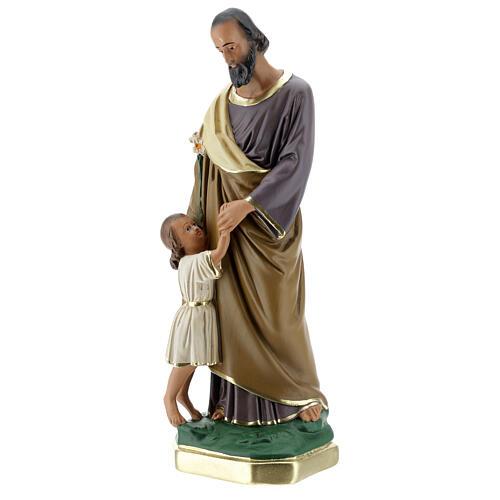 Saint Joseph avec Enfant Jésus statue plâtre 30 cm peinte main Barsanti 3