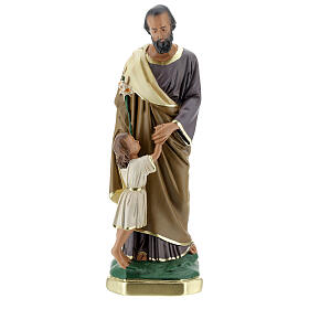 St Joseph and Child statue, 30 cm hand painted plaster Barsanti s1