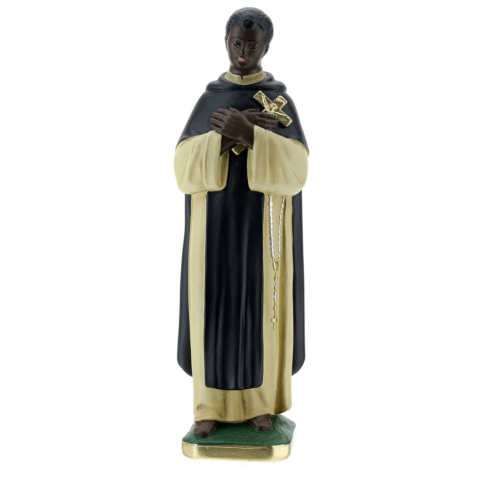 Statuette Saint Martin de Porrès 30 cm plâtre peint main Barsanti 4