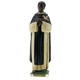 Statuette Saint Martin de Porrès 30 cm plâtre peint main Barsanti s1