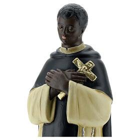 Statuette Saint Martin de Porrès 30 cm plâtre peint main Barsanti s2