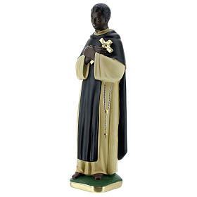 Statuette Saint Martin de Porrès 30 cm plâtre peint main Barsanti s3
